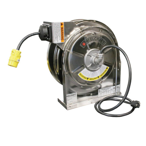 Reelcraft LS 5445 123 3 Heavy Duty Stainless Steel Cord Reel | 125 Volt / 15 Amp | 45 Ft. Cable Length | Single Receptacle