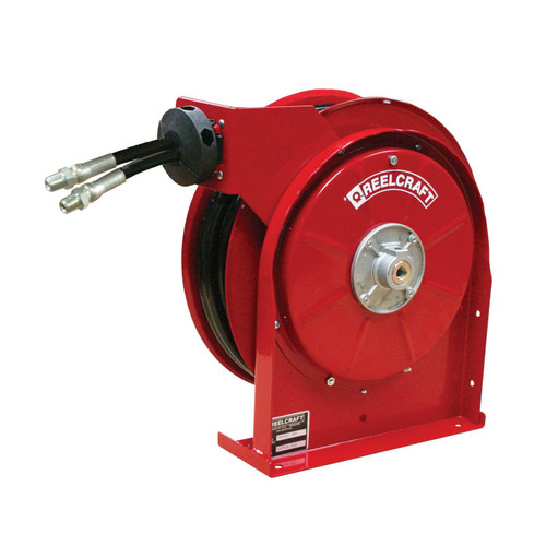 Reelcraft TH5425 OMP Dual Hydraulic Spring Retractable Hose Reel   1/4 in. Hose Diameter   25 Ft. Hose Length   2,000 Max PSI