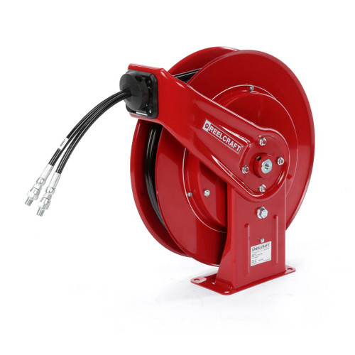 Reelcraft TH7445 OMP Dual Hydraulic Spring Retractable Hose Reel | 1/4 in. Hose Diameter | 45 Ft. Hose Length | 2,000 Max PSI