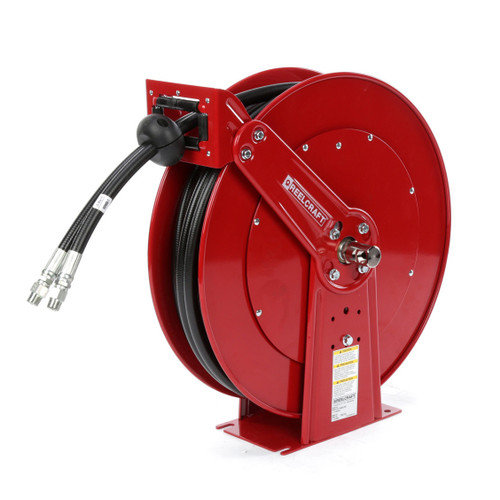 Reelcraft TH86050 OMP Dual Hydraulic Spring Retractable Hose Reel | 3/8 in. Hose Diameter | 50 Ft. Hose Length | 2,000 Max PSI
