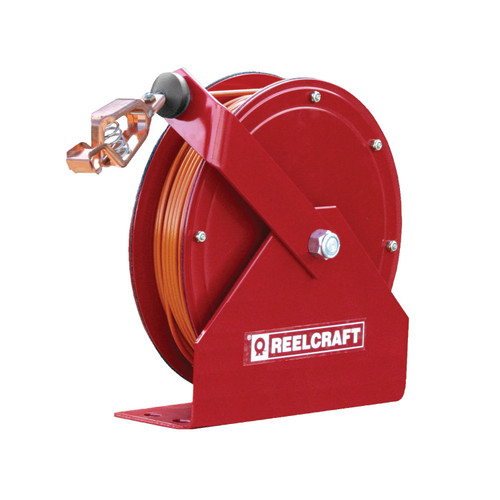 Reelcraft GA3100 N Static Discharge And Grounding Reel | 100 Ft. Cable Length | Hi-Vis Orange Nylon Covered Cable