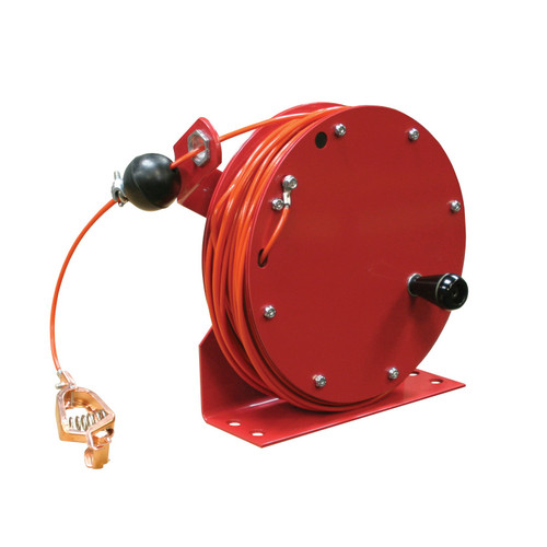 Reelcraft GHC3100 N Static Discharge And Grounding Reel | 100 Ft. Cable Length | Hi-Vis Orange Nylon Covered Cable
