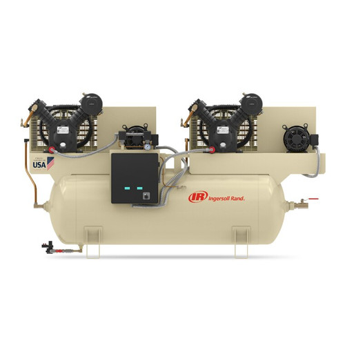 Ingersoll Rand 2-2475E7.5-V Reciprocating Air Compressor   46818654   7.5 HP   460 Volts   3 -Phase   24 ACFM   175 PSI   120 Horizontal Gallon Tank