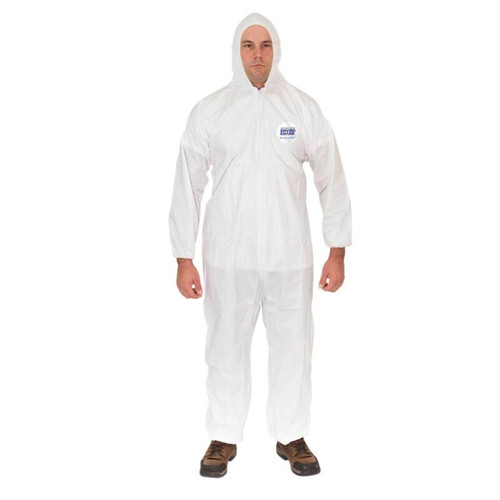 Enviroguard 8015-L Hooded Disposable Coveralls with Elastic Wrist, Elastic Back, Elastic Ankle | White