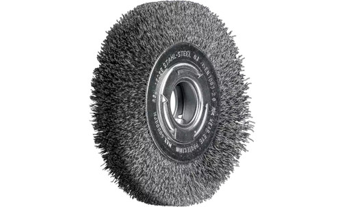 "PFERD 81115 Medium Face Crimped Wire Wheel | 6"" Diameter | 1-1/16"" Width | Carbon Steel Wire"