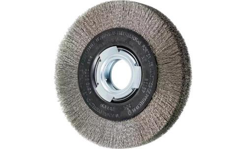 "PFERD 81157 Medium Face Crimped Wire Wheel | 6"" Diameter | 1-1/16"" Width | Stainless Steel Wire (INOX)"