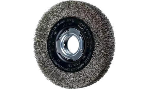 "PFERD 81159 Medium Face Crimped Wire Wheel | 6"" Diameter | 1-1/16"" Width | Stainless Steel Wire (INOX)"