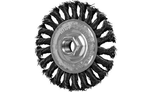 "PFERD 82166 Full Cable Twist Knot Wheel | 4"" Diameter | 1/2"" Width | Carbon Steel Wire | Box of 10"