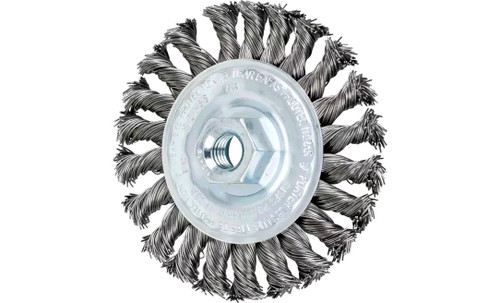 "PFERD 82168 Full Cable Twist Knot Wheel | 4"" Diameter | 1/2"" Width | Carbon Steel Wire | Box of 10"