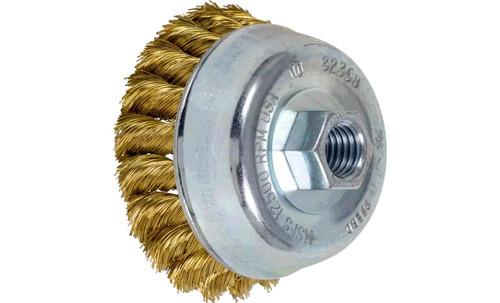 "PFERD 82368 Knot Cup Brush | 3-1/2"" Diameter | Brass Wire"