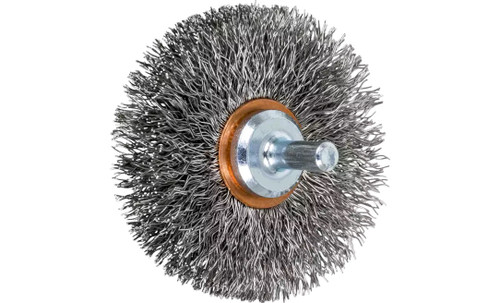 "PFERD 82910 Crimped Wire Wheel Brush | 2-1/2"" Diameter | Stainless Steel Wire | Box of 10"