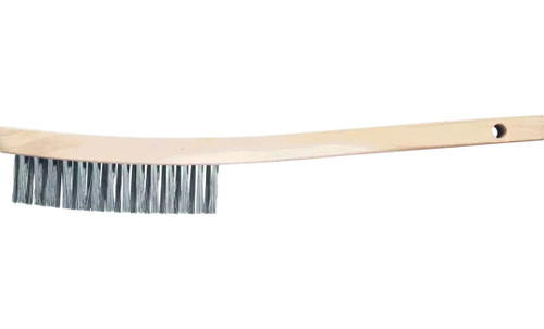 PFERD 85010 V-Groove Curved Handle Scratch Brush | Carbon Steel Wire | Box of 12