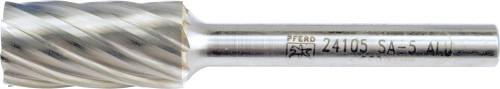 "PFERD 24105 Carbide Bur   SCTI SA-5   Cylindrical Shape A with Plain End (Uncut)   1/4"" Shank   Aluminum Cut"
