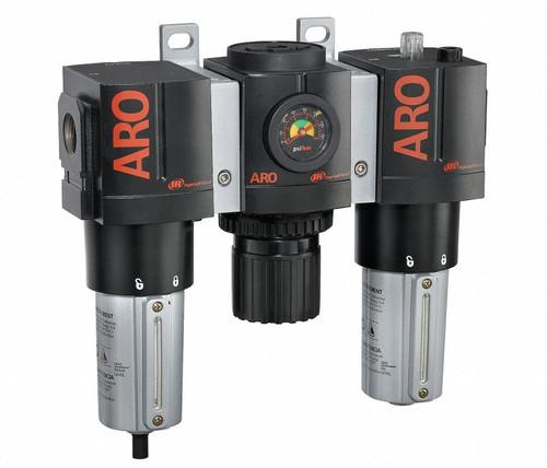 "ARO C38451-810 3/4"" Relieving FRL | 3000 Series | Metal Bowl with Gauge | 199 SCFM (3 Piece)"