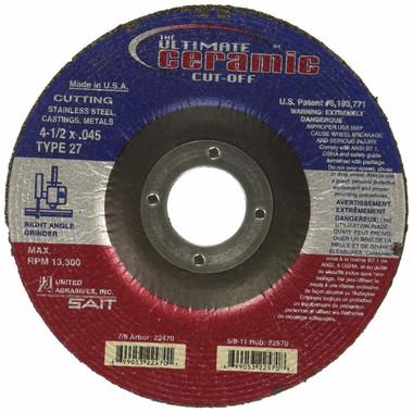 United Abrasives-SAIT 22380 SAIT Ultimate Cut Type 27 Cutting Wheel 50 Pack 4-1//2 x .045 x 7//8
