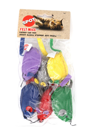 Wholesale Spot Colorful Felt Mice with Catnip Cat Toys - 6 Pack