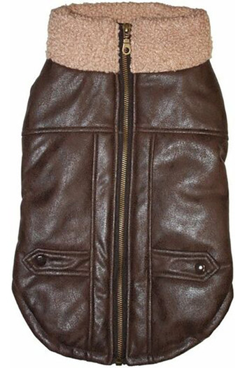 Wholesale Brown Faux Leather Bomber Dog Jacket with Sherpa Trim by Fashion Pet