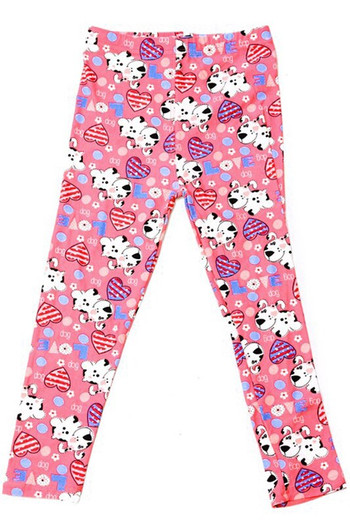 Wholesale Buttery Soft Pink Puppy Dogs Kids Leggings