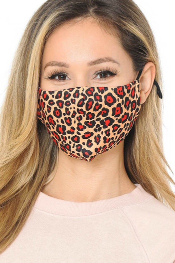 Wholesale Ruby Red Leopard Graphic Print Face Mask