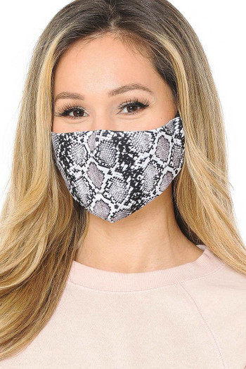 Wholesale Snakeskin Graphic Print Face Mask