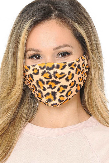 Wholesale Creamsicle Leopard Graphic Print Face Mask
