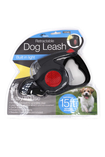 Retractable 15 Foot Dog Leash with LED Light