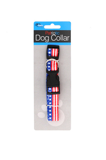 """Wholesale American Flag Dog Collar - Up to  20"""""""