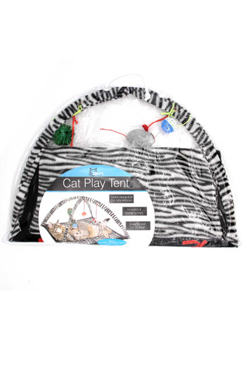 Wholesale Zebra Print Cat Play Mat with Arch and Hanging Toys
