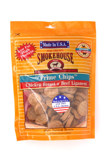 Wholesale Smokehouse Chicken Breast & Beef Ligament Chips Dog Treats - 8 oz - Made in USA