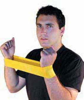 """Cando Low-Powder Exercise Resistance Bands 10"""" Long - Yellow - x-light  (Set of 10)"""