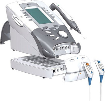 Modular design of Chattanooga's Intelect Legend XT Therapy System provides e-stim and optional therapeutic ultrasound module.