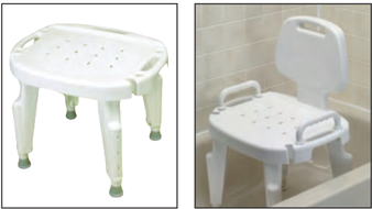 Shower Seat - Adjustable, Optional Arms and Back