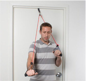CanDo® shoulder pulley with exercise tubing and handles, Red - light