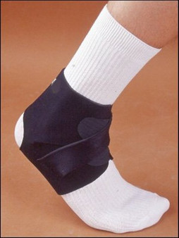 The ankle brace is made from neoprene and nylon