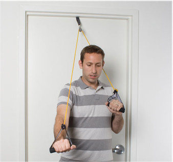 CanDo® shoulder pulley with exercise tubing and handles, Yellow - x-light