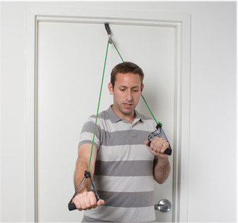 CanDo® shoulder pulley with exercise tubing and handles, Green - medium