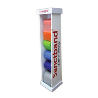 Sanctband Resistance Exercise Band Tower is designed to hold up to six 50yd. rolls.