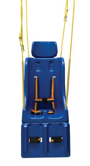 Adaptive therapy swing seat includes pommel and rope attachment.