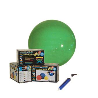 "CanDo® Inflatable Exercise Ball - Economy Set - Green - 26"" (65 cm) Ball, Pump, Retail Box"