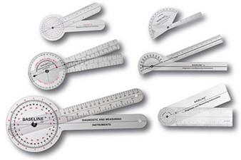 Baseline Plastic Goniometer - 6-piece HiRes Set