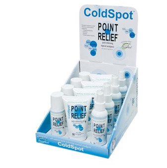 Point Relief Coldspot Lotion (Retail display pack: 4 sets of 3 oz spray, 3 oz roll-on and 4 oz gel)