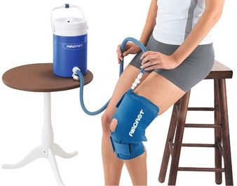 Cold therapy with the AirCast CryoCuff combined compression and cold.