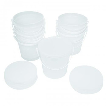 These plastic containers are used to store exercise putty. They come with lids that can be securely fastened in order to prevent the putty from spilling out. When the time comes for the putty to be used, the lids can also be easily opened.