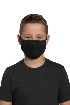 Youth 100% Cotton Black Face Mask for School