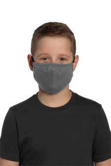 Youth Poly/Cotton Washable Face Mask for School - Heather Grey