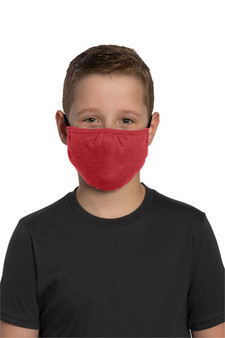 Youth Washable Cotton/Poly Face Mask - Heather Red