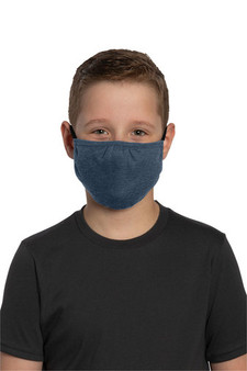 Youth Cotton/Poly Washable Face Mask for School - Heather Navy