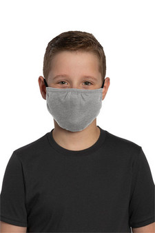 Youth Washable Cotton/Poly Face Mask for School - Light Heather Grey