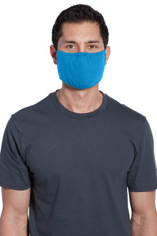Adult Cotton/Poly Three-Ply Face Masks Bulk Products - Heather Bright Turquoise