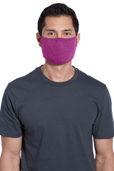 Adult Washable Cotton/Poly Three-Ply Face Masks - Heather Pink Raspberry